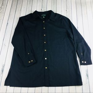 Lauren RL pinstriped gold button tunic shirt 1X